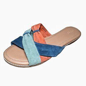 Crevo 'Rue' Blue & Orange Suede Slides 10